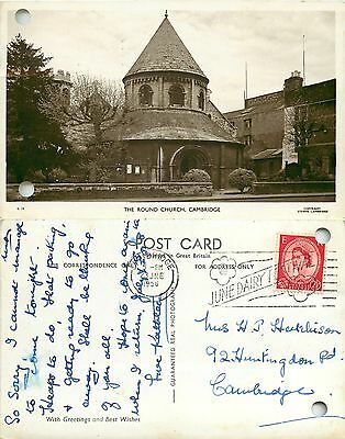 s07924 The Round Church, Cambridge, England RP postcard posted 1958 stamp