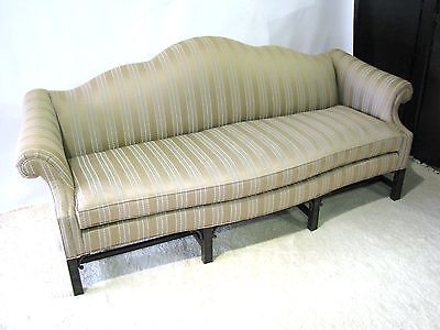 Drexel Heritage Chippendale Style Sofa; Rolled Arms & Carved Mahogany Legs