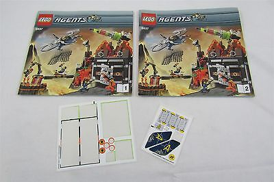 LEGO 8637 AGENTS Volcano Base Instructions Manuals & Stickers Only