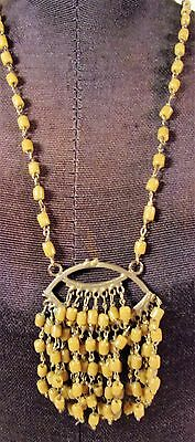 Art Deco GoldPlate Molded Amber Glass Bead Cluster Pendant Necklace Lovely
