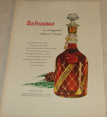 "Old  Fitzgerald Kentucky Whiskey in Diamond Decanter 1953 magazine ad 10"" x 14"""