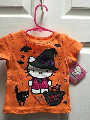 Hello Kitty, Infant 12 Month, Orange Halloween Witch Shirt NWT