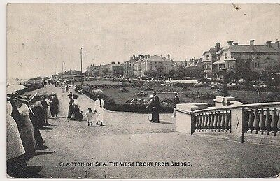 Rare Old Postcard - The West Front From Bridge - Clacton On Sea - Essex C.1911