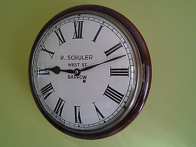 """Stunning """"convex"""" Fusee School-Station Wall Clock ( Cleaned & Serviced ) C1840"""