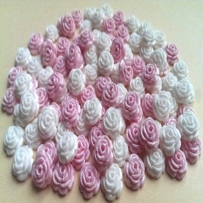 100 Edible Sugar Roses Flowers Cake Cupcake Toppers Decorations Pink/white