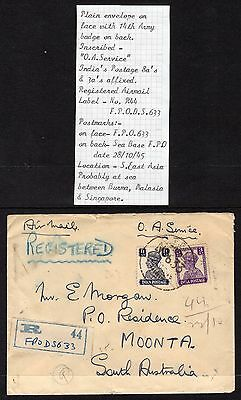 Pre Decimal, India Postage Registered Air Mail, 14th Army,1945,#1447