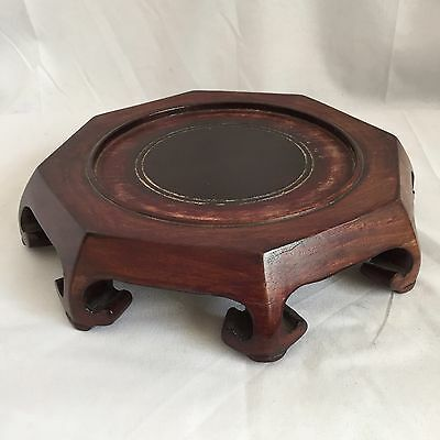 "Antique Asian 9"" Eight Sided Wooden Display Stand"