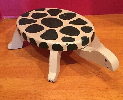 Primitive Style Hand Made Crafted Turtle Foot Step Stool Cape Cod Wood Wooden