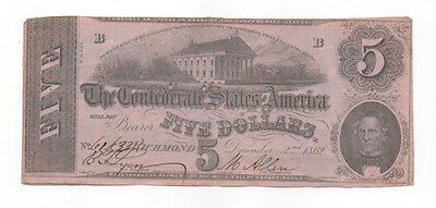Civil War Confederate CSA T-53 $5 Note Obsolete Currency 1862 Richmond Capital