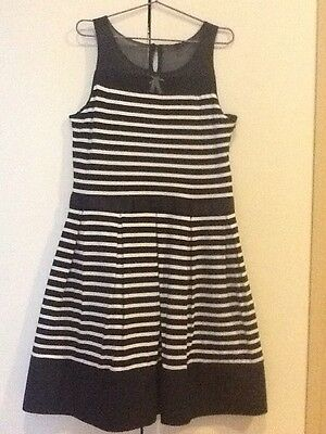 Navy and White Stripe Party Dress, Size 9 NWOT
