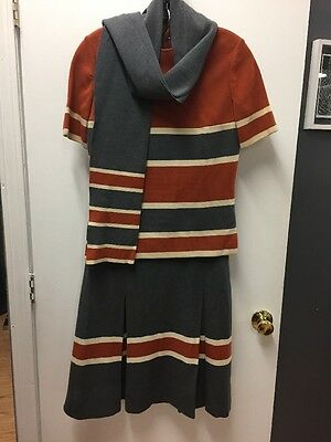 Vintage Gino Paoli Knit Top And Skirt With Matching Scarf Size 10