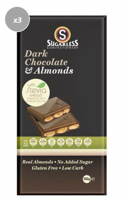 908008 4 x 150g VALUE BARS OF SUGARLESS CONFECTIONERY'S MILK CHOCOLATE & ALMONDS