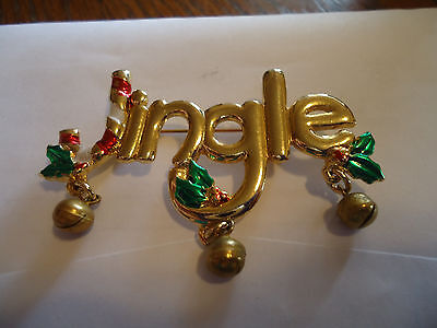 Jingle Bell Holiday Pin/Brooch Goldtone/Green/Red/White