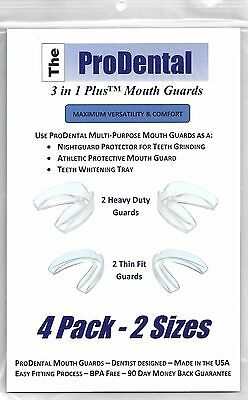 ProDental Professional Mouth Guard 4 pack, 2 sizes-Stops Teeth Grinding,BPA Free
