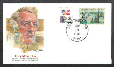 Us Cover 1983 Henry Mower Rice -Proudest Americans Fleetwood Cachet