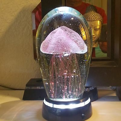 """Large Glass Purple Jellyfish Paperweight Glow in the Dark 6"""" / + LED BASE"""