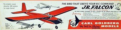 Vintage JR. FALCON Goldberg's Early Days of RC 1/2-A Model Airplane PLAN