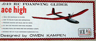 "Vintage ACE HIGH MK II 70"" RC Powered Glider Model Airplane PLAN + PartsPatterns"