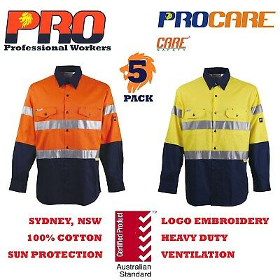 5 x Hi Vis Work Shirt with vent cotton drill CR reflective Tape Aus/NZ standard