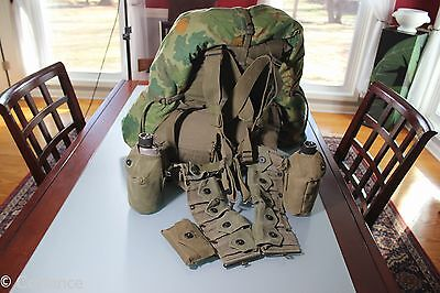 US Korean War Vietnam Combat Pack Shovel Canteens Shelter 1st Aid Carbine Belt