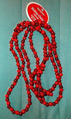 Holiday Chalet 8' Wooden Cranberry Bead Christmas Tree Garland NWT
