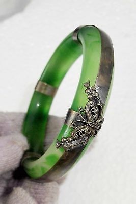 Chinese Old silver Butterfly Guanyin Bodhisattva Hand-carved Green jade bracelet