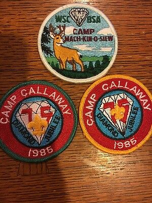 3 Mint 1985 Diamond Jubilee 75th Patches Camp Mach-kin-o-siew Camp Calloway
