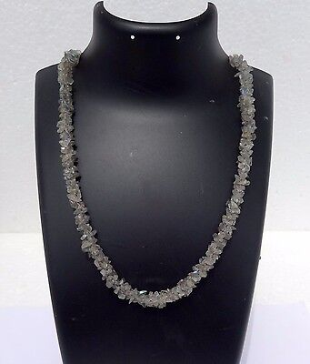 """250Cts Natural Genuine Natural Labradorite Rope  Chip Nugget Necklace Beads 26"""""""