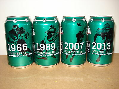 Saskatchewan Roughriders CFL Grey Cup Championship Cola 4 can set