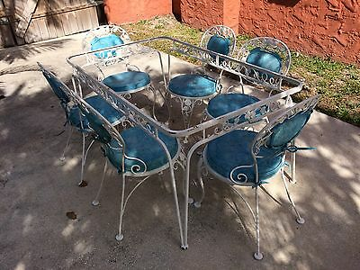 Vintage Wrought Iron Woodard Patio Sunroom Dining Set Table 6 Chairs
