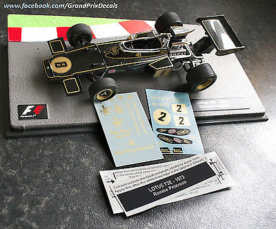 Formula 1 Car Collection conversion DECALS to Lotus 72E Ronnie Peterson 1973 F1