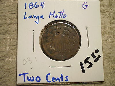 1864 Two Cent Piece/ Large Motto