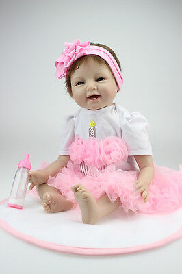 "22"" Soft Vinyl Silicone Real Life Like Reborn Baby Doll Newborn Dolls Pink Skirt"