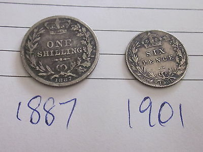Silver one shilling 1887 and silver six pence 1901
