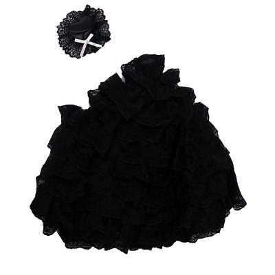 Handmade Princess Party Ball Gown Dress Clothes Black Lace for Barbie Doll