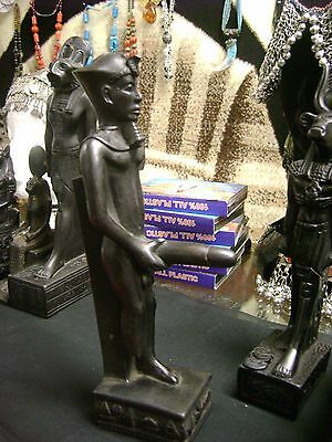 Vintage Hand Made  Egyptian God  Min  Statue 1978  Made in Egypt