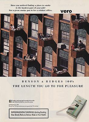 1994 magazine ad BENSON & HEDGES cigarettes advertisement desk out the window
