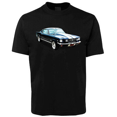 New Black Ford Mustang Illustrated T Shirt Size S -5XL +7XL