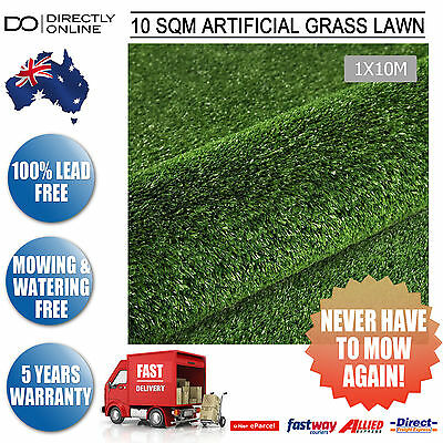 Plastic Green Fake Lawn Synthetic Grass Artificial Turf 10 SQM Lush 15mm Olive