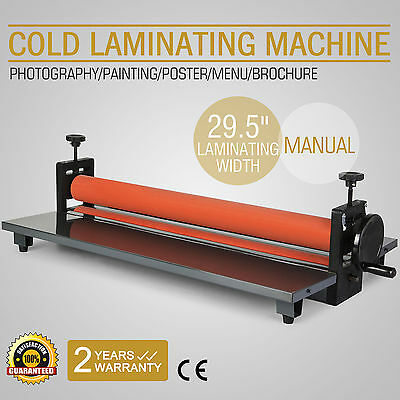 """29.5"""" Roll Laminator Four Rollers Cold Laminating Machine 750mm Manual"""