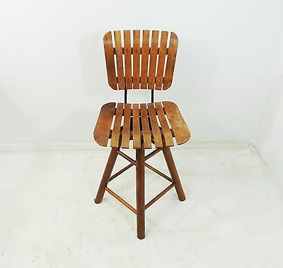 Vintage Mid Century Style of Umanoff Slatted Wood Bar Stool Chair