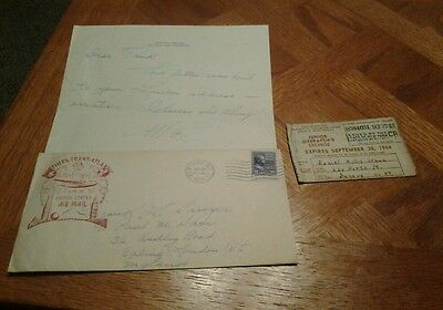1939 letter and first flight northern trans atlantic cover ny ny and 1944 permit