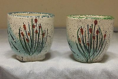 "Vtg Dartmouth Pottery Set of 2~Pickerel Fish Cottontails~3"" Planter Custard Cups"