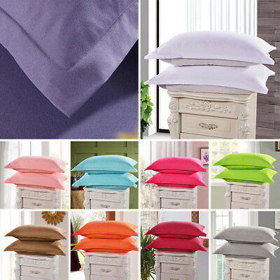 1/2 Pcs Cotton Pillow Cases Covers Pillowcases Standard Queen Size Solid Colors