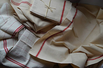 An unused antique/vintage French red striped torchon