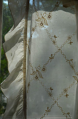 Vintage French cream embroidered tambour lace curtain panel with frill