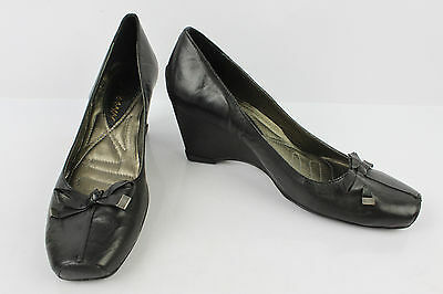 Court shoes heels Wedge JOHANN Black Leather T 38 VERY GOOD CONDITION