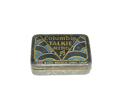 VINTAGE COLUMBIA TALKIE GRAMOPHONE TIN with 9 Needles