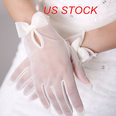 STOCK White/Ivory Short Tulle Bridal Wedding Opera Prom Evening Costume Gloves