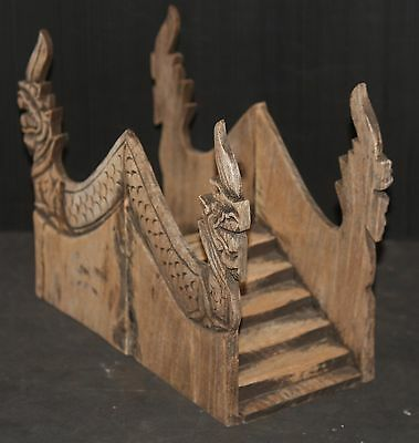 STAIRWAY ANTIQUE HAND CARVED SIAM NAGA SNAKE HEAD architectural model vintage